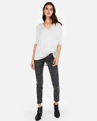 Express One Eleven Heather V-Neck Twist Front London Tee