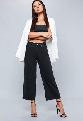 Missguided Black Wide Leg Cropped Jeans