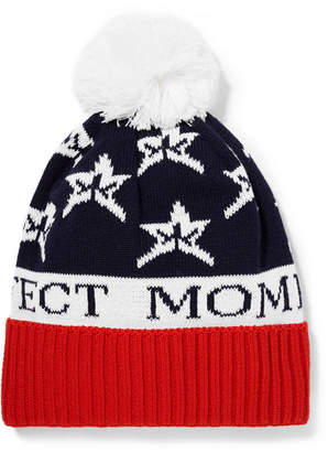 Perfect Moment - Star Pompom-embellished Intarsia Wool-blend Beanie - Navy