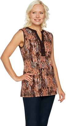 Denim & Co. Perfect Jersey Printed Sleeveless Y-Neck Top