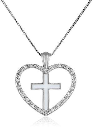 10k White Gold White Enamel Heart and Cross with Diamonds Pendant Necklace (0.07 Cttw)