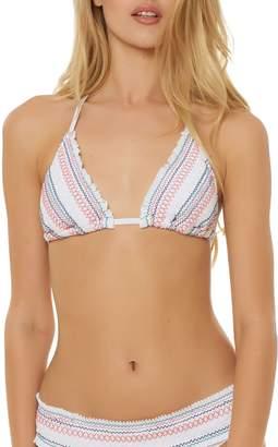 Red Carter Smocked Triangle Bikini Top