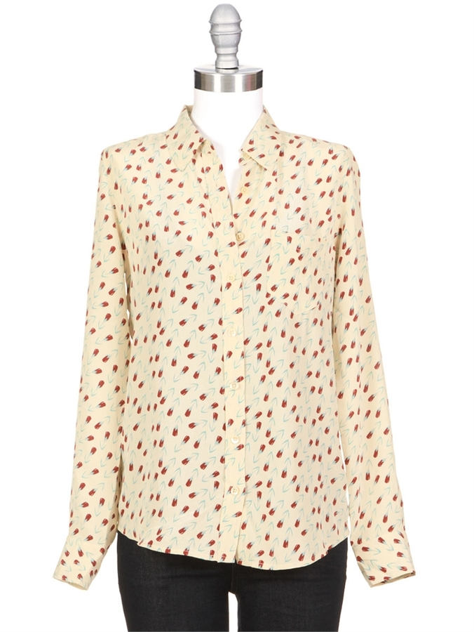 EQUIPMENT Brett Tulip Print Silk Blouse