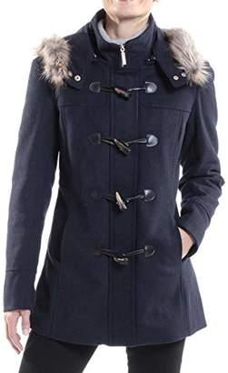 alpine swiss Women's AS709 Duffy Wool Coat Fur Trim Hooded Parka Jacket