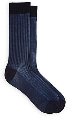 Barneys New York Men's Striped Ribbed Cotton Mid-Calf Socks