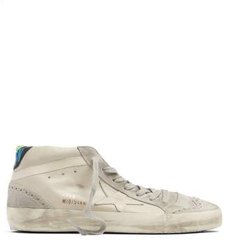 Golden Goose Midstar Leather And Suede Trainers - Womens - White