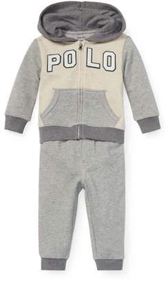 Ralph Lauren Childrenswear Colorblock Zip-Up Jacket w/ Matching Sweatpants, Size 6-24 Months