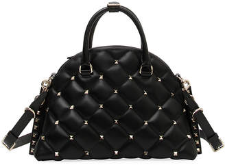 Valentino Candystud Quilted Leather Dome Top Handle Bag