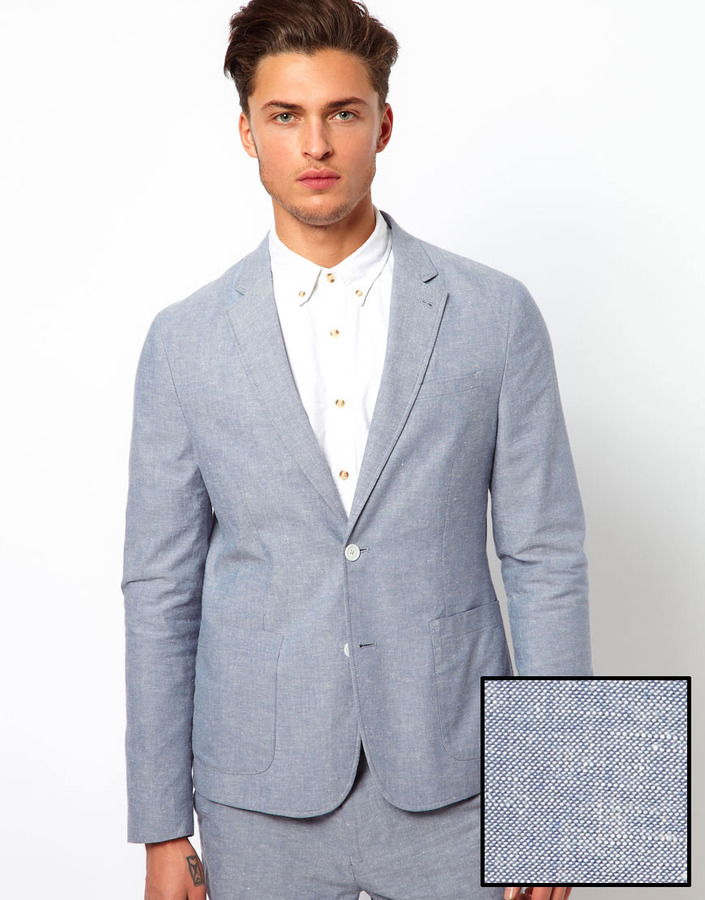 Asos Slim Fit Suit Jacket in Cotton