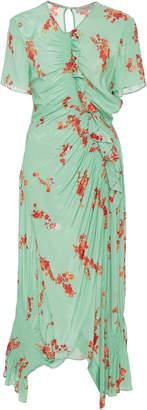 Preen Line Serelida Shirred Floral-Print Midi Dress