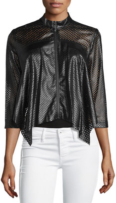 Alberto Makali Perforated Faux-Leather Jacket, Brown $161 thestylecure.com