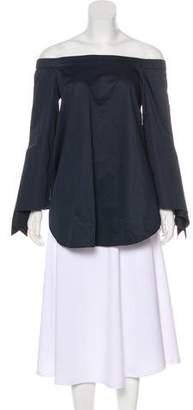 Tibi Off-The-Shoulder Long Sleeve Top