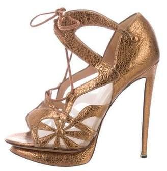 Nicholas Kirkwood Metallic Leather Lace-Up Sandals