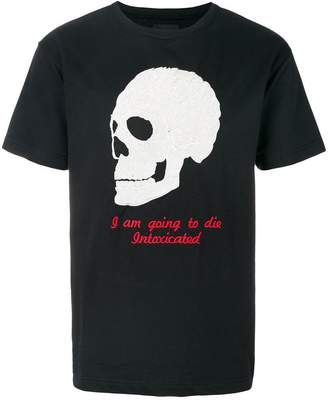 Intoxicated skull-embroidered T-shirt