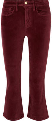 Frame Le Crop Mini Boot Cotton-blend Velvet Flared Pants - Burgundy