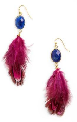 Women's Panacea Feather Shoulder Duster Earrings $32 thestylecure.com