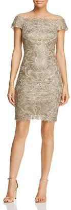 Tadashi Shoji Embroidered Illusion Off-the-Shoulder Dress - 100% Exclusive