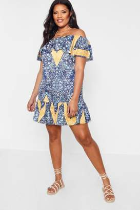 boohoo Plus Paisley Print Bardot Dress