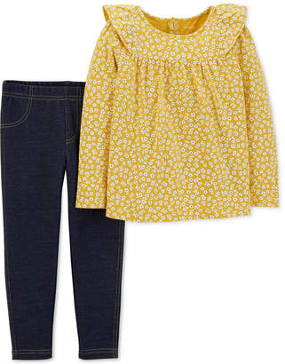 Carter's Baby Girls 2-Pc. Floral-Print Top & Denim Leggings Set