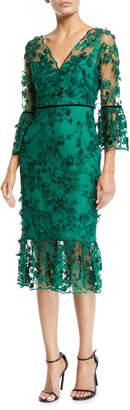 Marchesa Bell-Sleeve Embroidered 3D Flower Dress