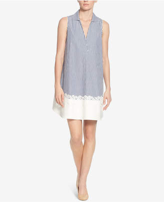 Catherine Malandrino Cotton Striped Crochet-Trim Shift Dress