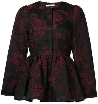 Co textured floral peplum jacket