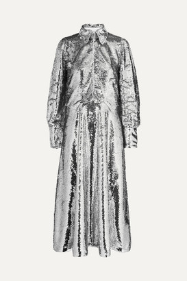 Ganni Sonora Sequined Crepe Midi Dress - Silver