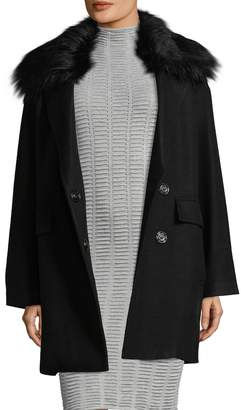 Armani Exchange Women's Faux Fur-Trimmed Coat
