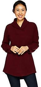 Denim & Co. Petite Fleece Shawl Collar LongSleeve Tunic