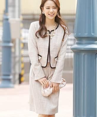 プールヴー 【入学式・卒園式】2点セット ジャケット ノーカラーラメツイード スカート