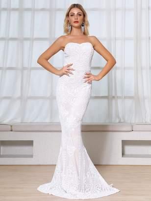 Shein DKRX Sequin Floor Length Tube Prom Dress