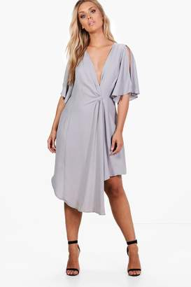 boohoo Plus Wrap Woven Occasion Dress
