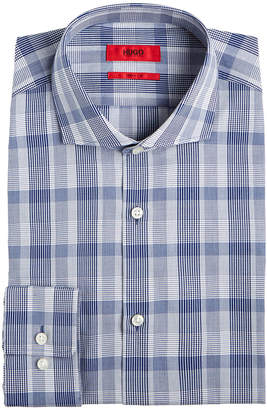 HUGO BOSS HUGO Men's Slim-Fit Navy Plaid Dress Shirt