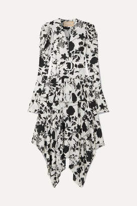 MATÉRIEL Tiered Belted Floral-print Chiffon Midi Dress - Black