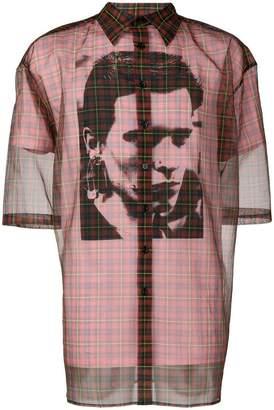 Raf Simons sheer tartan shirt