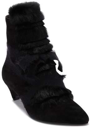 Attilio Giusti Leombruni Genuine Rabbit Fur & Leather Ankle Boot