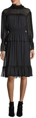 See by Chloe Long-Sleeve Smocked Silk Dress