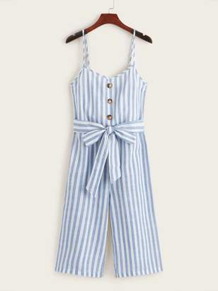 Shein Button Detail Self Belted Wide Leg Cami Jumpsuit