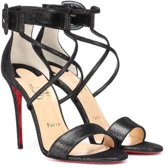 Christian Louboutin Choca 100 suede lame sandals