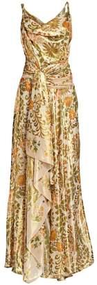 Oscar de la Renta Metallic Printed Draped Gown