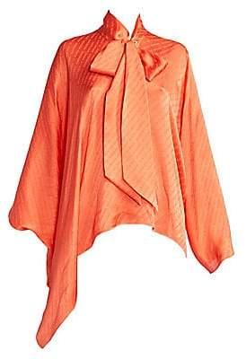 Balenciaga Women's Draped Vareuse Logo Tieneck Blouse