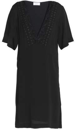 A.L.C. Embroidered Lace-Up Trim Silk-Cady Mini Dress