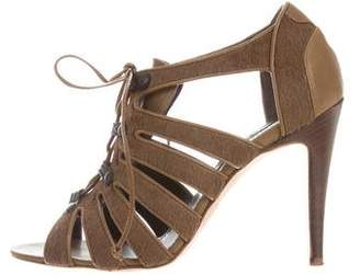 Manolo Blahnik Lace-Up Ponyhair Sandals