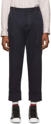 3.1 Phillip Lim Navy Wide Cuff Single Pleat Trousers