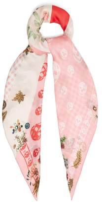 Alexander McQueen Floral and skull-print silk scarf