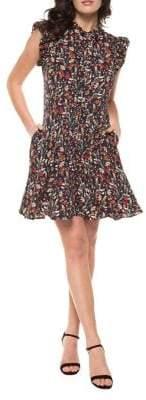 Dex Ruffled Floral Print Cutout Dress