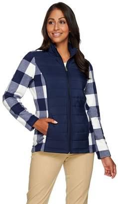 Denim & Co. Printed Fleece Zip Front Jacket w/ Front Quilted Panel