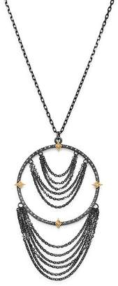 """Armenta 18K Yellow Gold & Blackened Sterling Silver Old World Champagne Diamond Adjustable Chandelier Necklace, 17"""""""