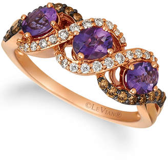 LeVian Le Vian Grape Amethyst (3/4 ct.t.w.), Nude Diamonds (1/5 ct.t.w.), and Chocolate Diamonds (1/4 ct.t.w.) Three Stone Ring set in 14k rose gold