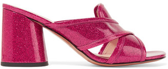 Marc Jacobs - Aurora Glittered Patent-leather Mules - Fuchsia $295 thestylecure.com